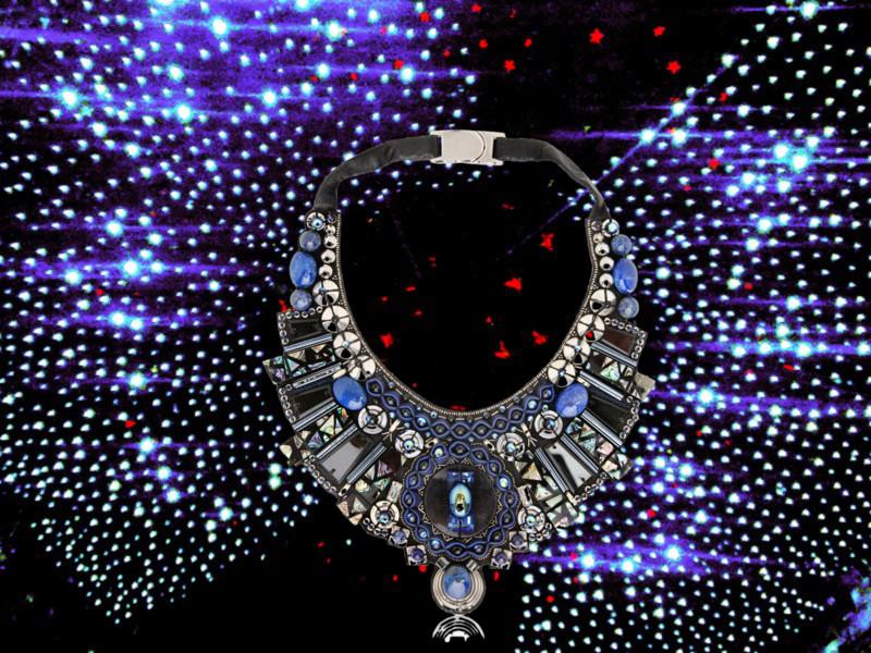 RANJANA KHAN Celestial Matter Bib Necklace - Blue