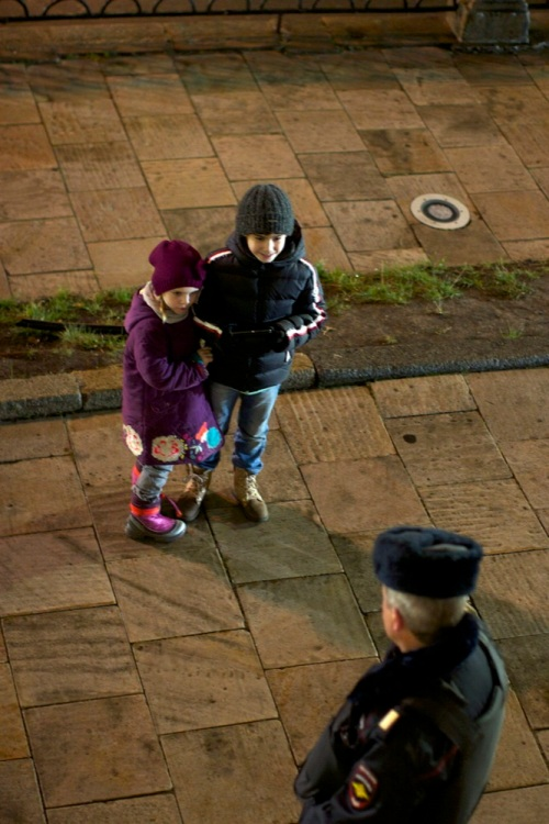 children and policeman. moscow this november series.